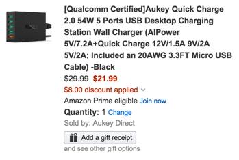 Aukey 5 port charger amazon