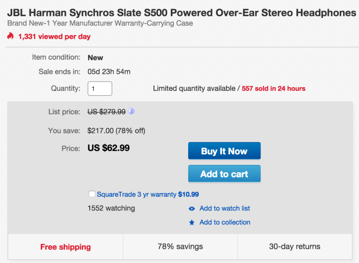 BL Harman Synchros Slate S500 Powered Over-Ear Stereo Headphones (SYNAE500STL)-sale-02