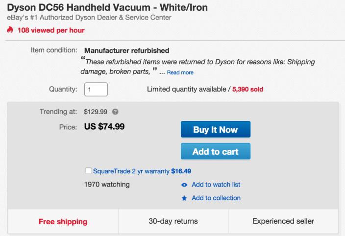 Dyson DC56 Handheld Vacuum - White:Iron-sale-02