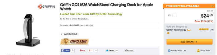 Griffin WatchStand Dual Charging Dock for Apple Watch and iPhone-sale-04