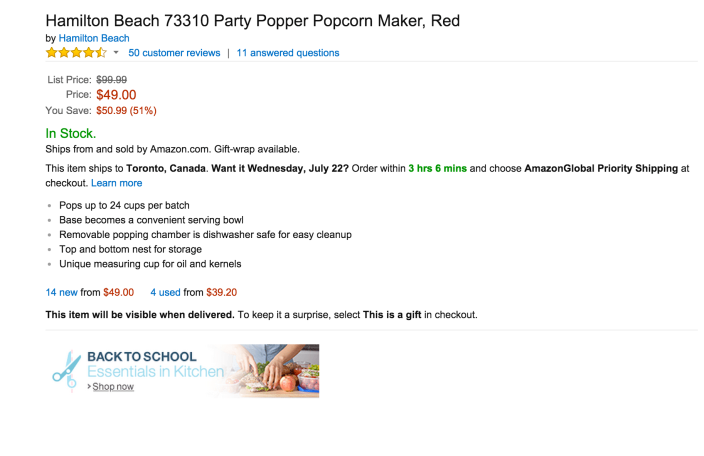 Hamilton Beach Party Popper Popcorn Maker in red (73310)-sale-02