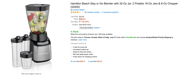 Hamilton Beach Stay or Go Blender & 8-Oz Chopper (52400)-sale-02