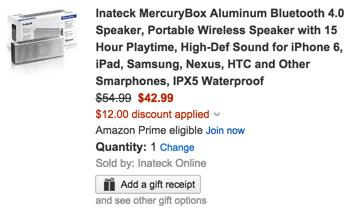Inateck MercuryBox Aluminum Bluetooth 4.0 Speaker