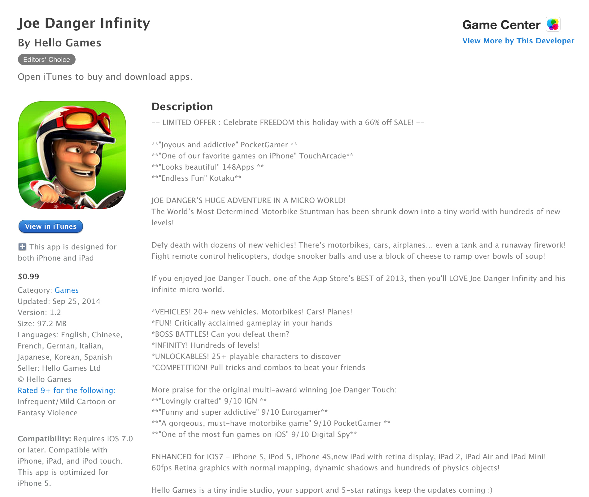 Games/Apps: Joe Danger Infinity $1 (Reg  $3), PlayStation TV