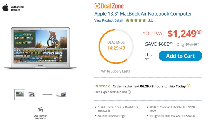 MacBook Air i7 1.7GHz 13%22 Laptop w: 512GB SSD B&H