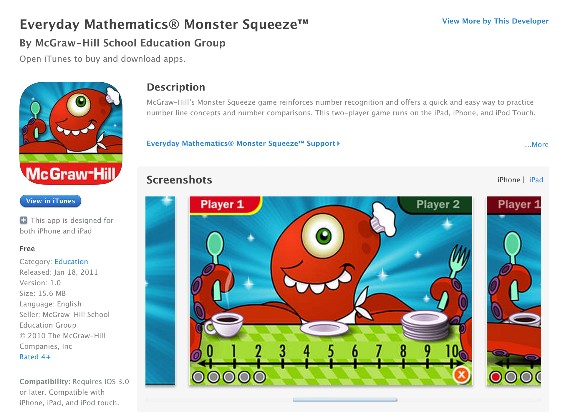 Free McGraw-Hill educational iOS apps for kids: Monster Squeeze ...