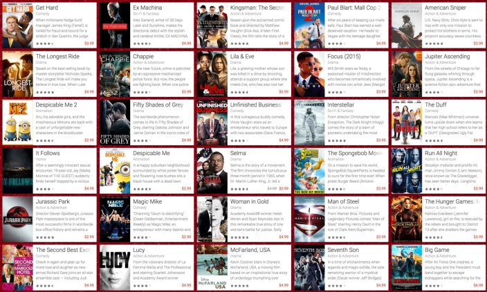 Movies available on Google Play to rent