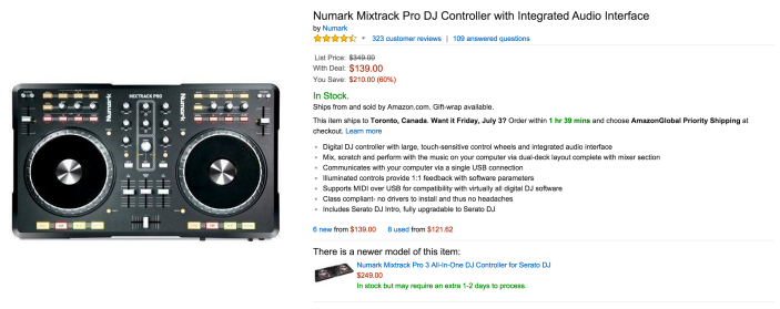 Numark Mixtrack Pro DJ Controller with an integrated audio interface-sale-02