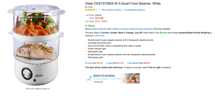 Oster 5-Quart Food Steamer in white (CKSTSTMD5-W-sale-03