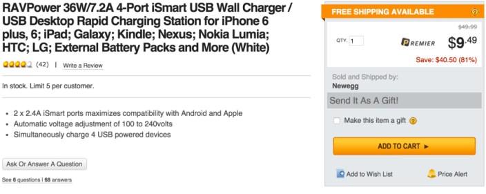 RAVPower 36W:7.2A 4-Port iSmart USB Wall Charger