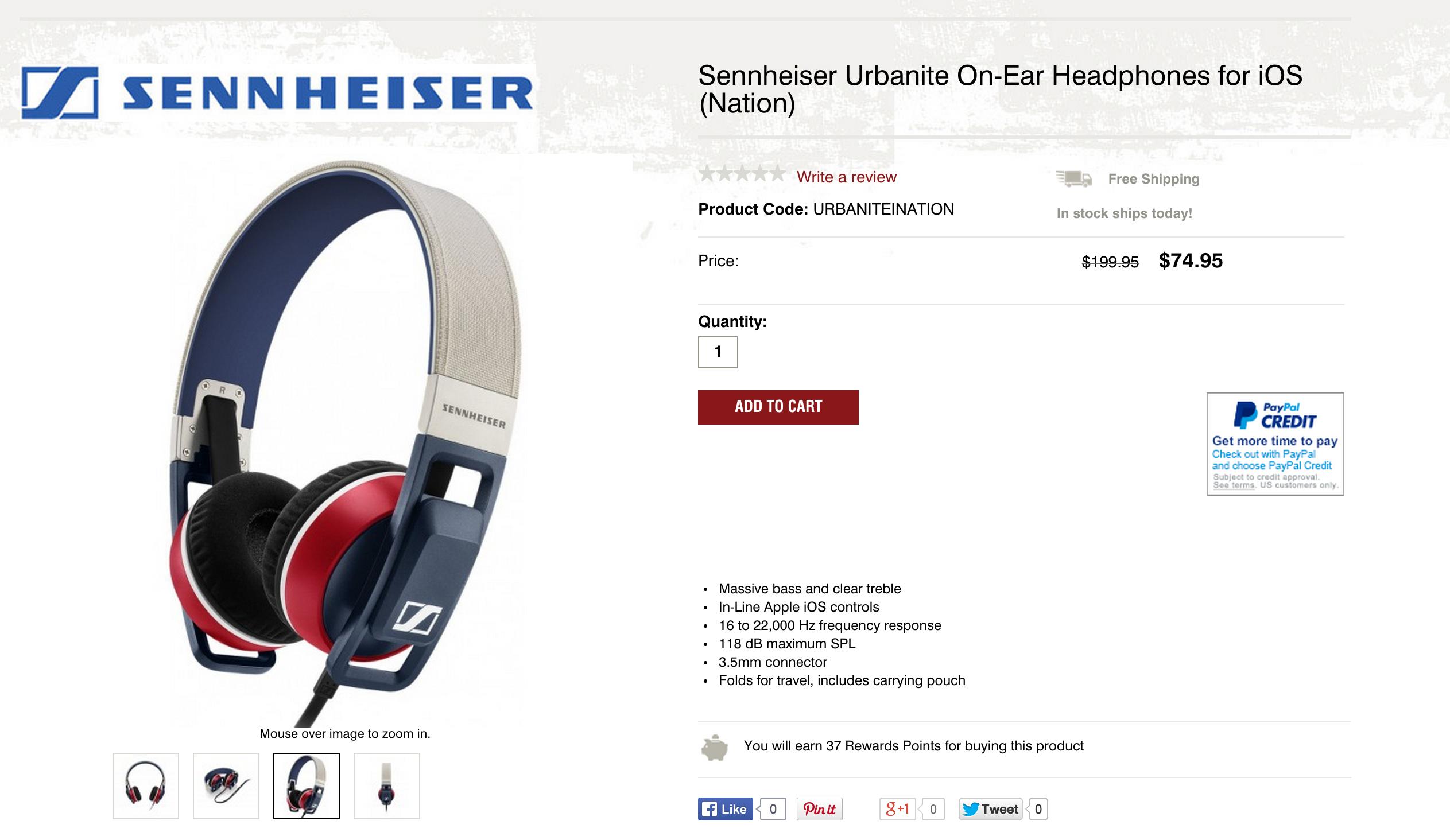 Headphones Sennheiser Urbanite On Ears For 75 Or Xl Over