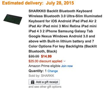 SHARKK® Backlit Bluetooth Keyboard Wireless Bluetooth Ultra-Slim Illuminated Keyboard