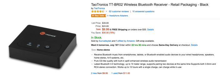 TaoTronics TT-BR02 Wireless Bluetooth Receiver in black-sale-03