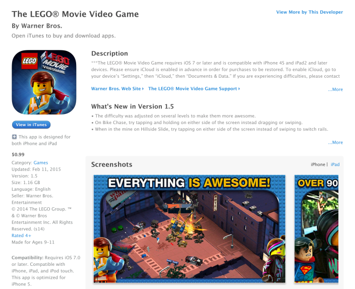 The LEGO® Movie Video Game-sale-iOS-02