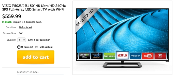 VIZIO P502ui-B1 50-Inch 4K Ultra HD Smart  HDTV