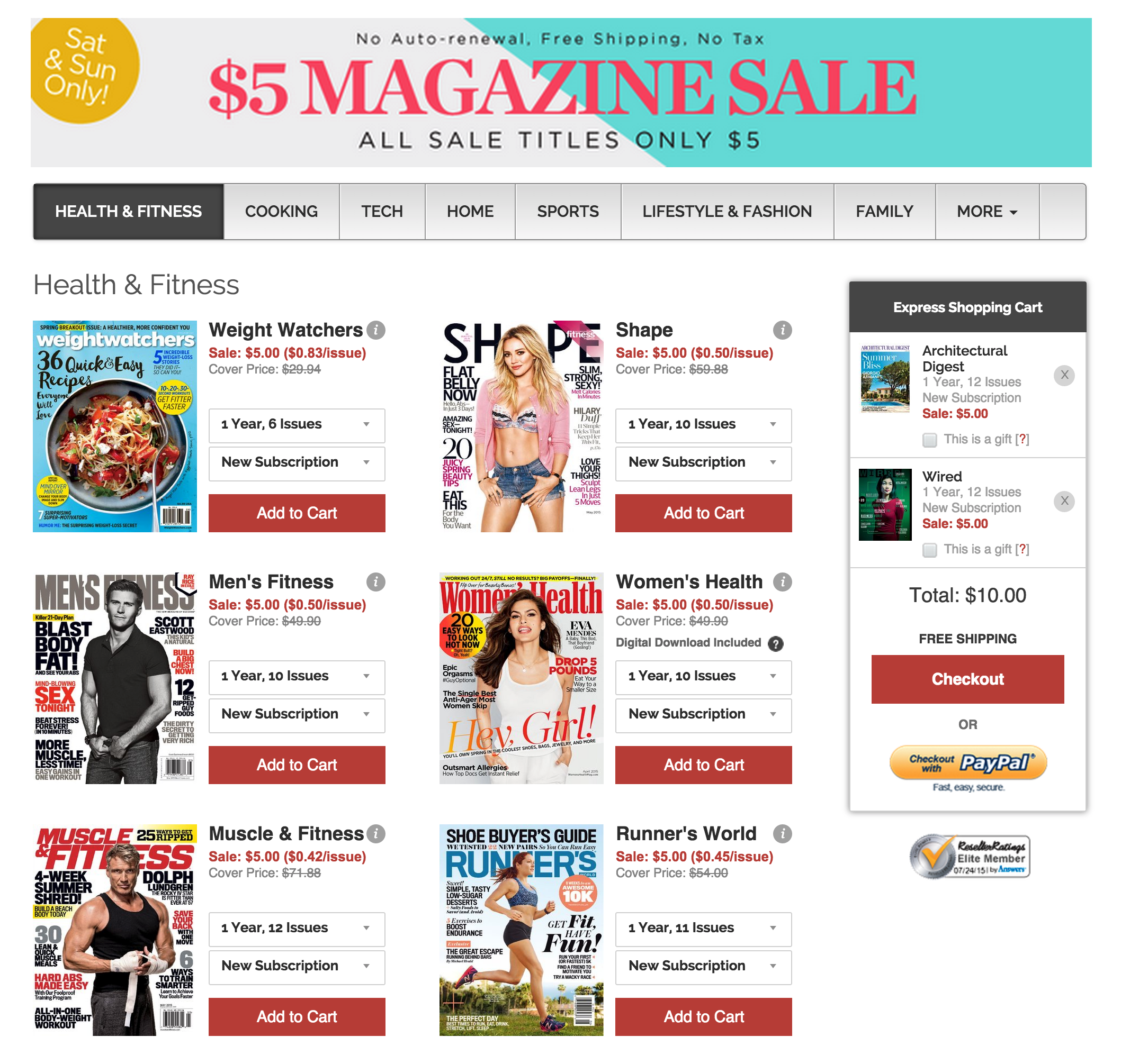 Magazine subs from $3/yr: Motor Trend, ESPN, Wired, GQ, Dwell, Arch ...