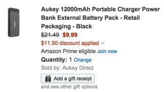 Aukey 12000mAh Portable Charger Power Bank External Battery Pack - Retail Packaging - Black