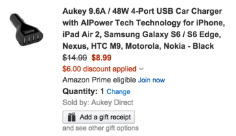 Aukey is its 9.6A 4-Port USB Car Charger