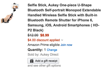Aukey One-piece U-Shape Bluetooth Self-portrait Monopod Selfie Stick