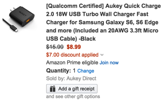 Aukey Quick Charge 18W USB Turbo Wall Charger