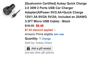 Aukey Quick Charge 30W 2 Ports USB Car Charger