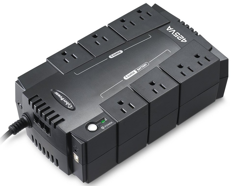 CyberPower Standby Series 425VA UPS - 8 Outlets, 255 Watts, 890 Joules, RJ11 Protection, 6 Ft Cord - SE425G