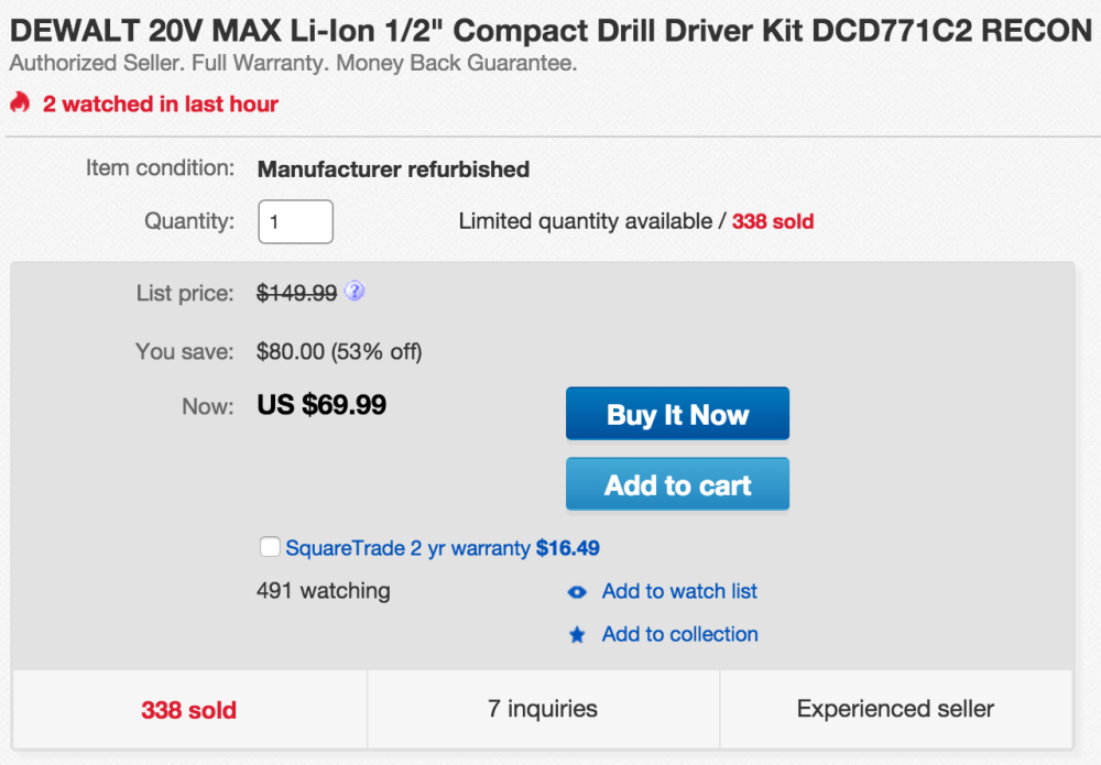 DEWALT 20V MAX Lithium-Ion Compact Drill:Driver Kit ( DCD771C2)-sale-02
