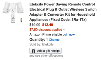 Etekcity Power Saving Remote Control Electrical Plug & Outlet Wireless Switch Adapter & Converter Kit for Household Appliances (Fixed Code, 3Rx-1Tx)