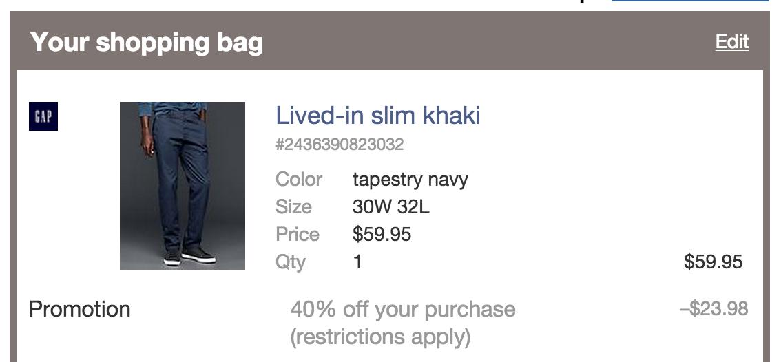 ca4991859 Fashion: Save 40% sitewide at Gap & Banana Republic - slim khakis ...