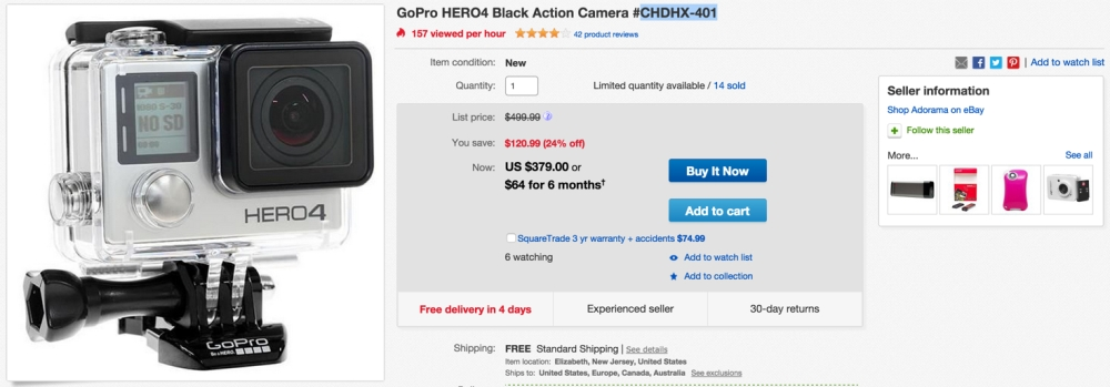 GoPro HERO4 Black Action Camera #CHDHX-401