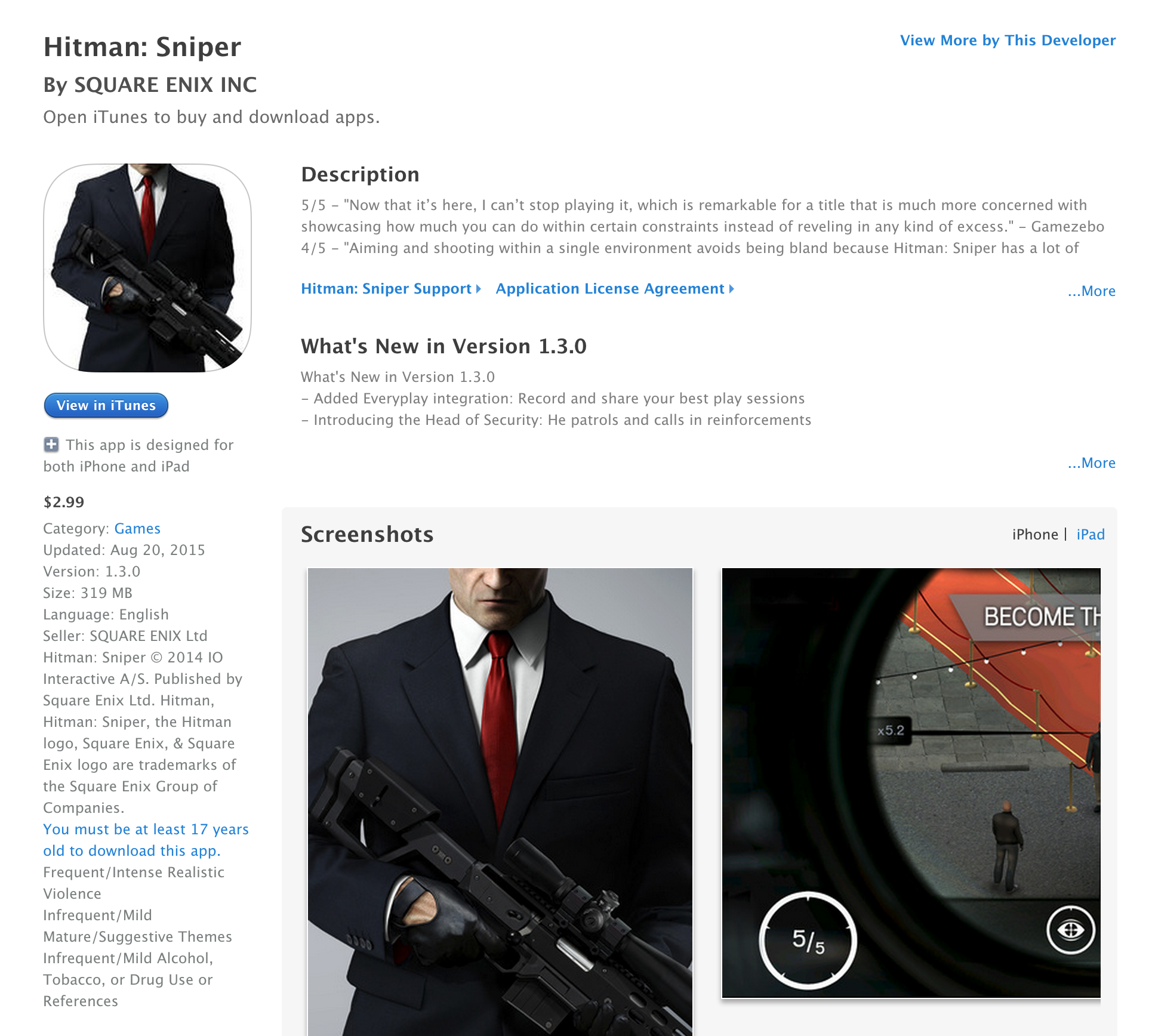 Hitman: Sniper for iOS hits its lowest price ever $3 (Reg