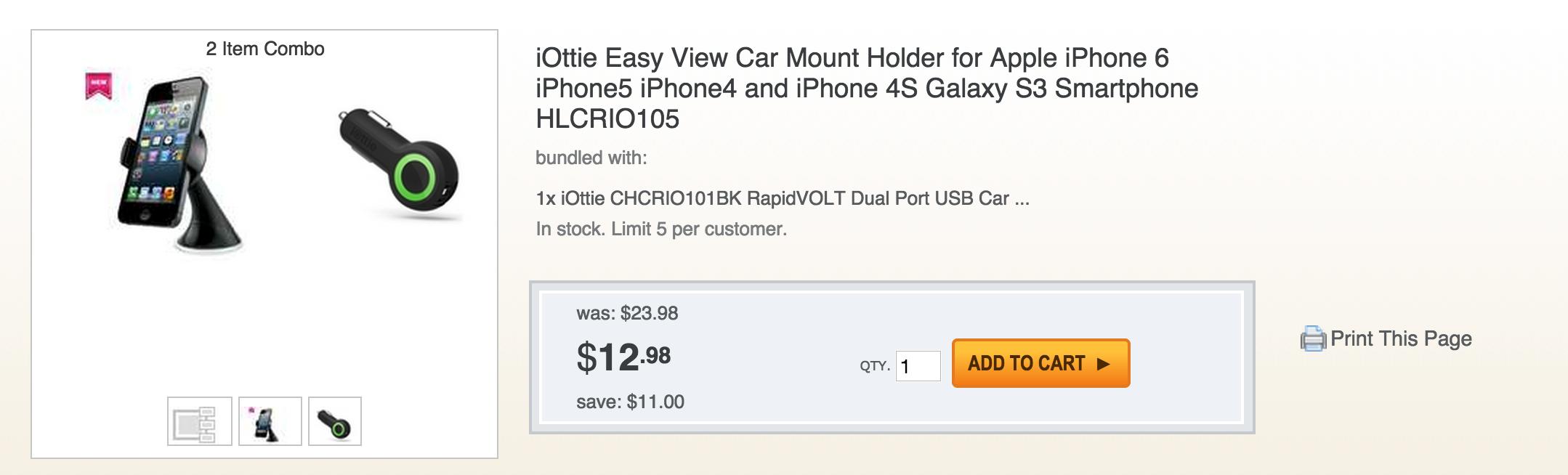 Iottie Easy View Iphone 6 Car Mount Rapidvolt Dual Usb