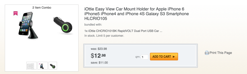 iOttie Easy View iPhone 6 Car Mount + RapidVolt Dual USB Car Charger-sale-03