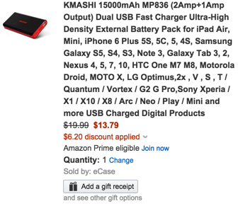 KMASHI 15000mAh MP836 (2Amp+1Amp Output) Dual USB Fast Charger Ultra-High Density External Battery Pack