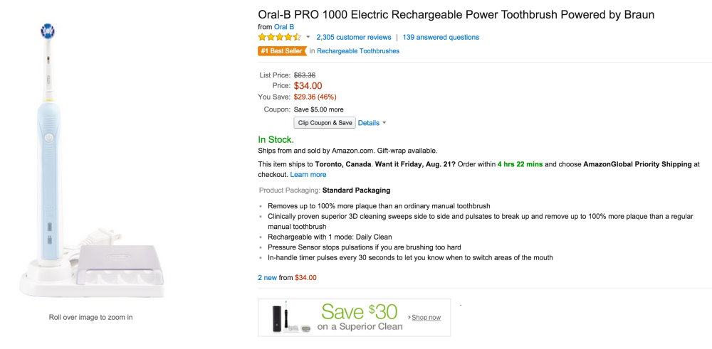 Oral-B 1000 toothbrush-sale-01-Amazon
