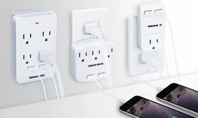 1-, 3-, or 4-Outlet and Dual-USB Wall Charging Station