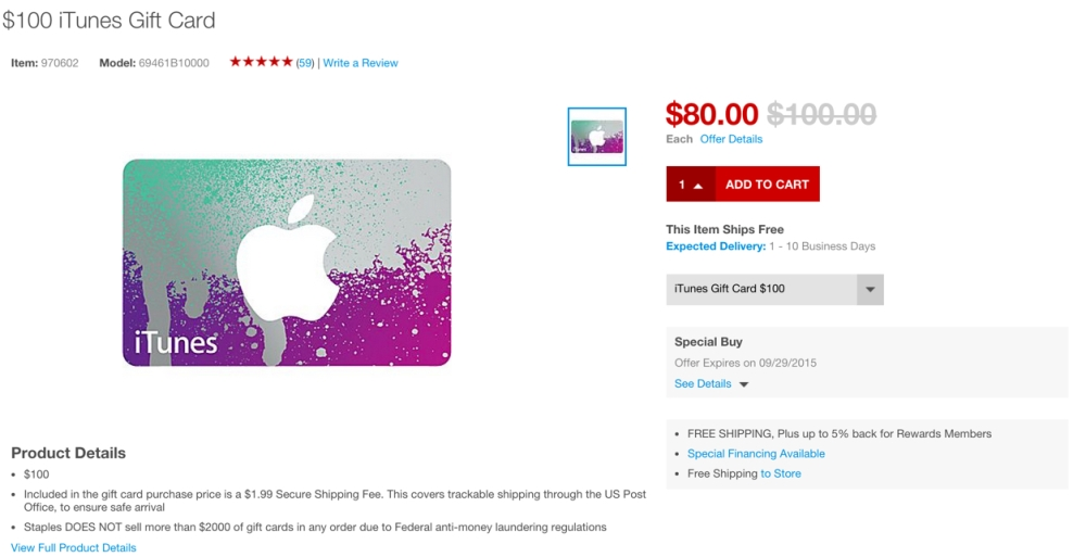 20 percent off itunes giftcards at staples