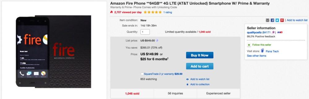64GB fire phone on ebay
