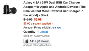 Aukey 4.8A : 24W Dual USB Car Charger Adapter