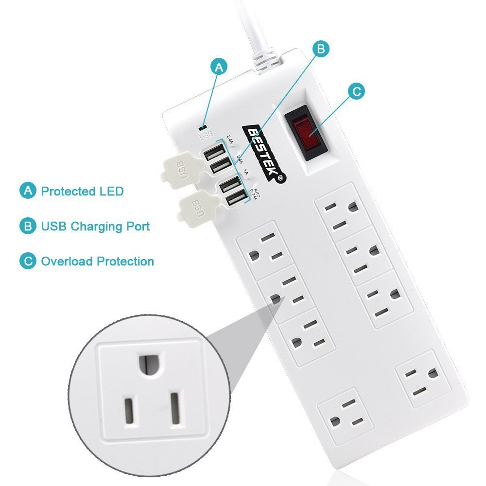 BESTEK 8-Outlet Home:Office Surge Protector w: 4 USB ports-sale-01
