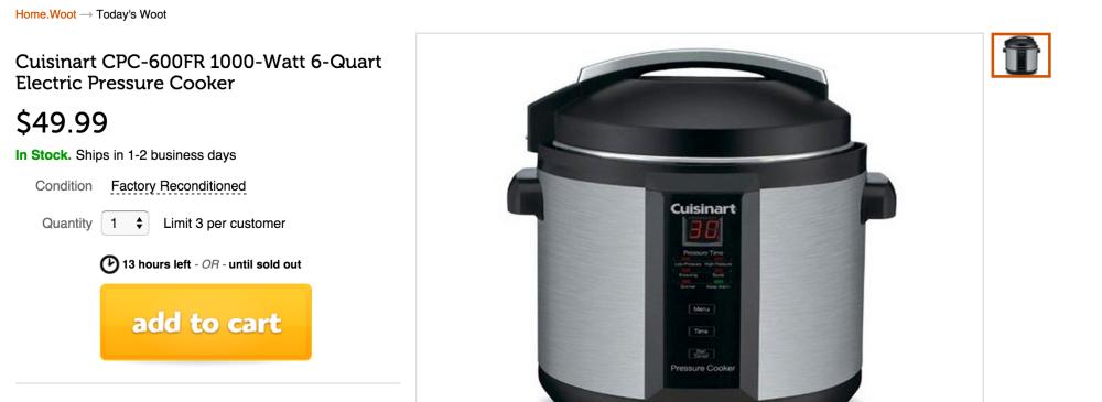 Cuisinart 1000-Watt 6-Quart Electric Pressure Cooker (CPC-600FR)-sale-02