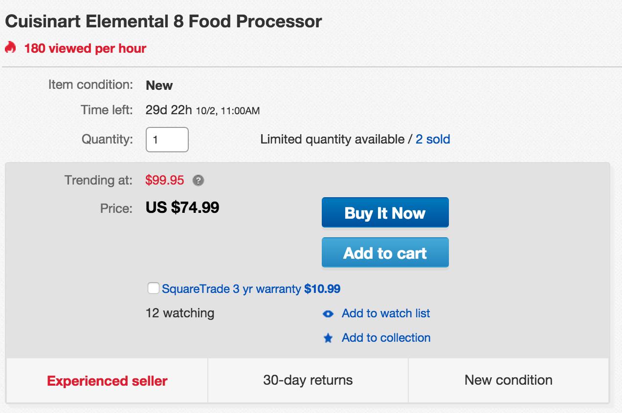Home Cuisinart Food Processor 75 Reg 100 More