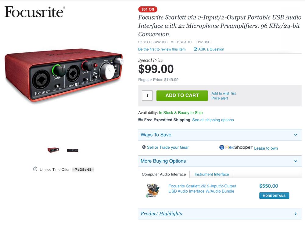 Focusrite Scarlett 2i2 USB Recording Audio Interface-sale-04