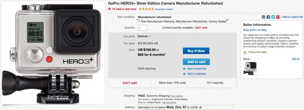 GoPro Hero3+ ebay GoPro warranty