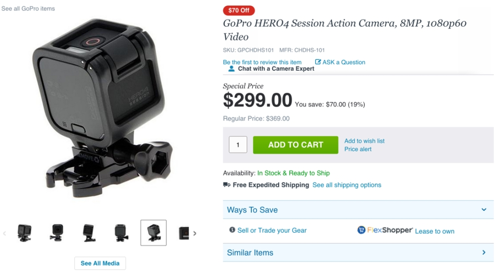 GoPro HERO4 Session Action Camera, 8MP, 1080p60 Video