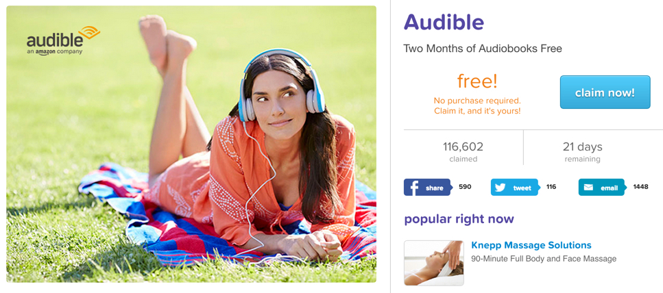 livingsocial 2 free months of audible