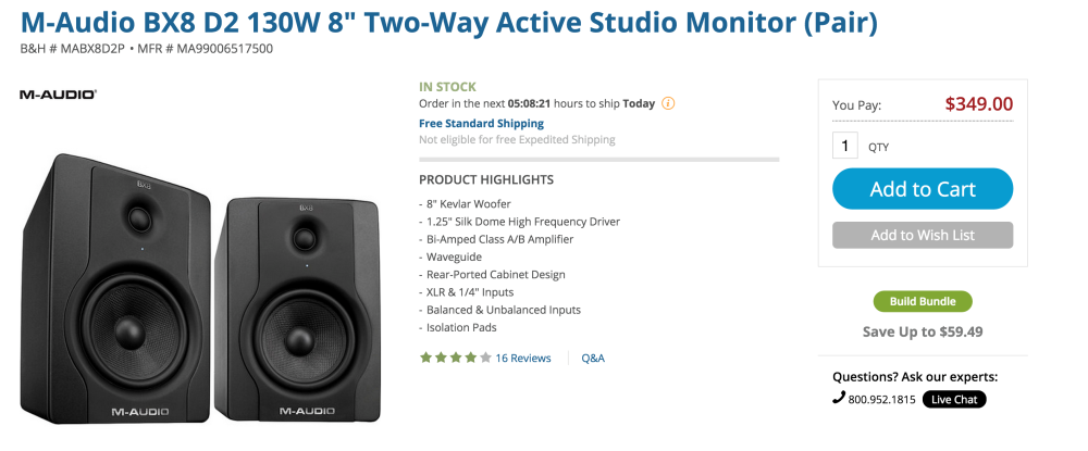 M-Audio BX8 D2 130W 8%22 Two-Way Active Studio Monitors (pair)-sale-02