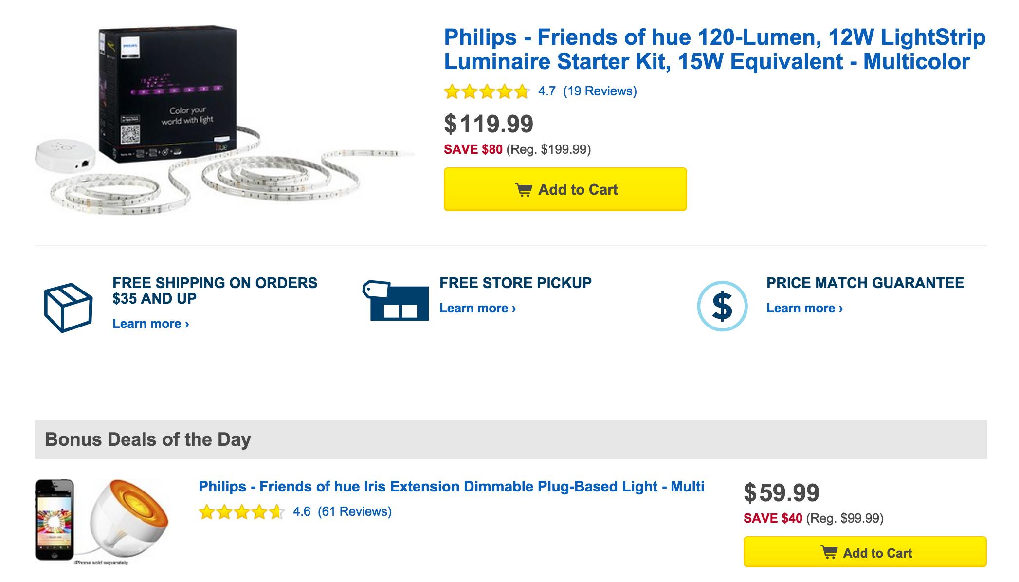 Philips Friends of Hue: LightStrip Starter Kit $120 (Reg ...