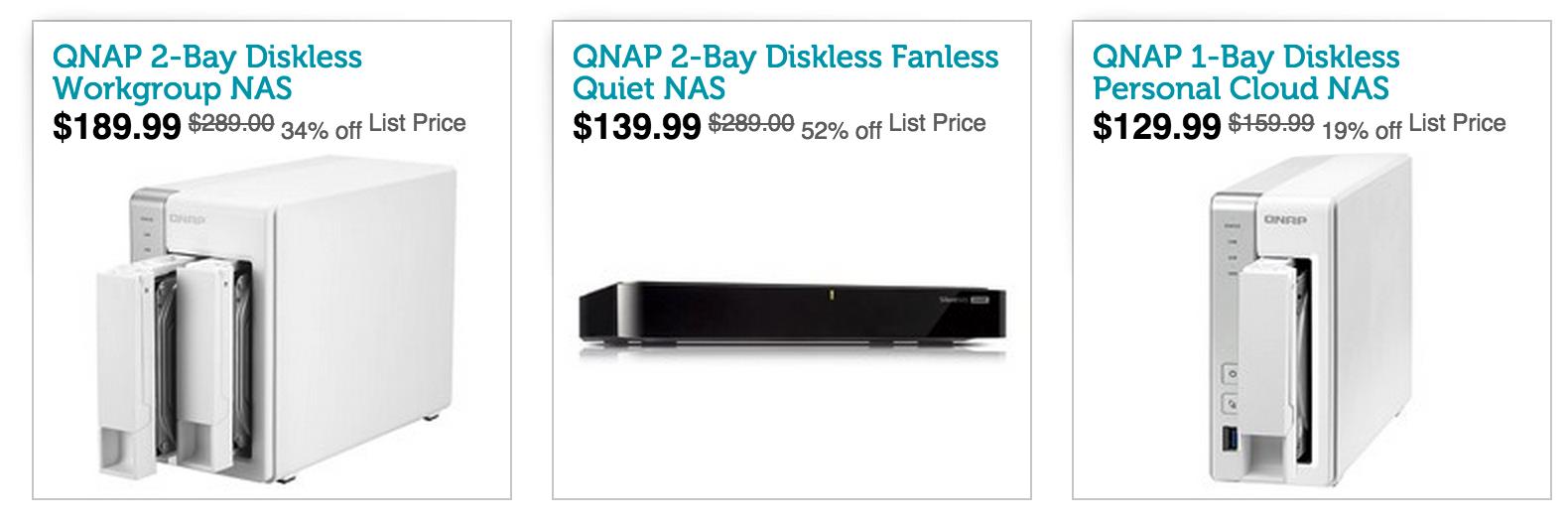 QNAP NAS w/ AirPlay: TS-131 1-Bay $135 (Orig  $215), HS-210 2-Bay