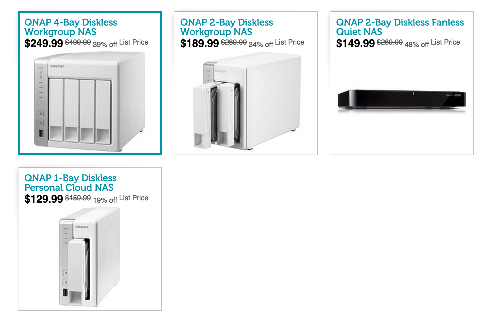 QNAP NAS w/ AirPlay: TS-131 1-Bay $135 (Orig  $215), HS-210 2-Bay
